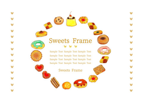 Watercolor hand-painted sweets decorative frame