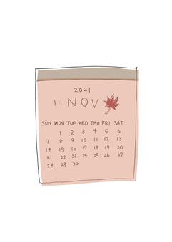 2021 年 11 月日曆顏色