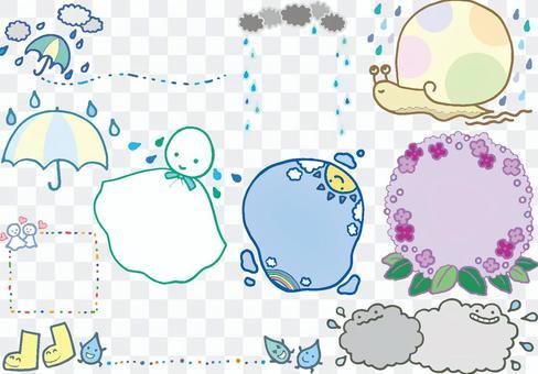 雨季圖像手繪框架集