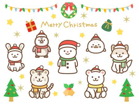 Christmas_Animal in Santa hat
