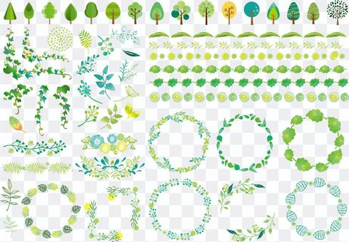Various plant frames and icon sets