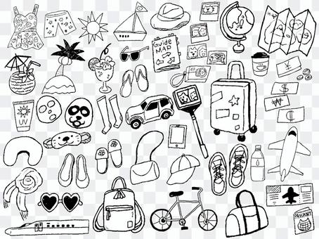 旅行用品黑白單色旅行