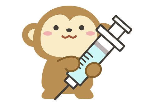 Vaccination monkey with syringe