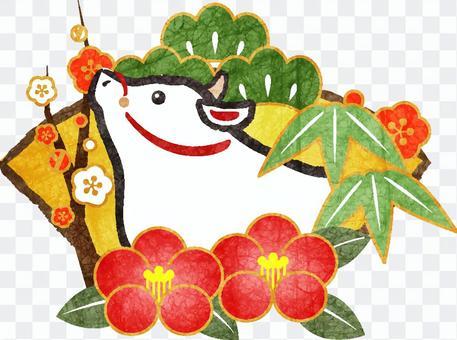 白丑と松竹梅&椿の年賀状素材