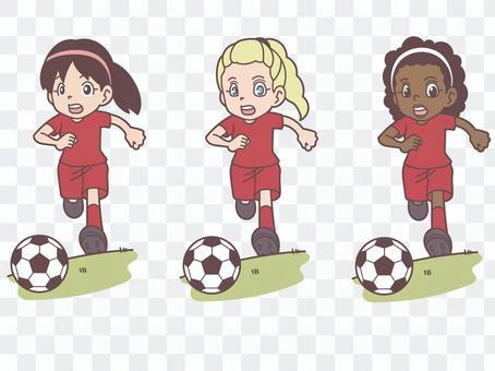 女子足球3場比賽