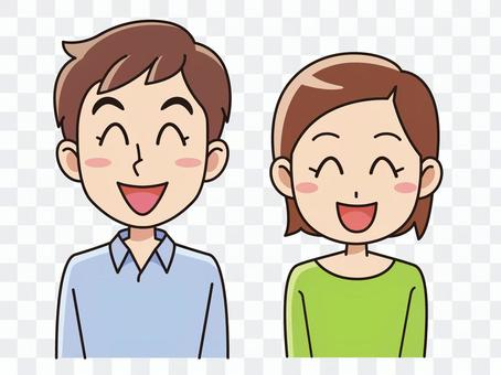 年轻的男人和女人微笑着