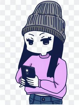 用智能手機拍照,一個女人觸摸智能手機