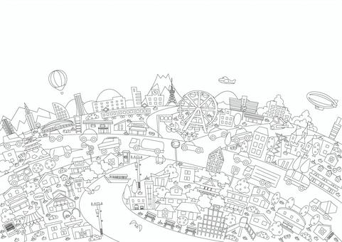 生動的城市景觀線條藝術著色書