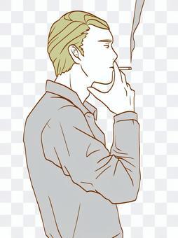 抽煙的男人(簡單的顏色)