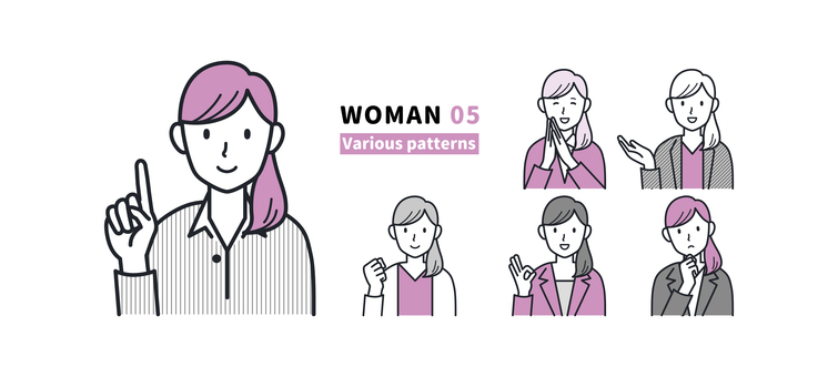 Women with various facial expressions and poses 05