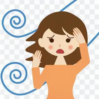 頭髮被風打擾的女人