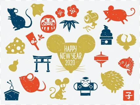 New Year card illustration set 02