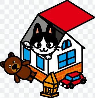 Toy box cat