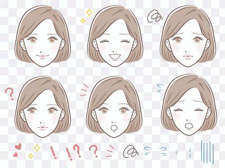 女性面部表情集