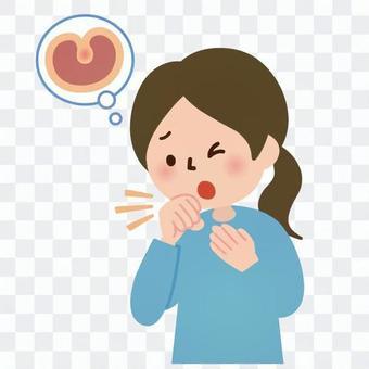 医療-喉が痛む女性
