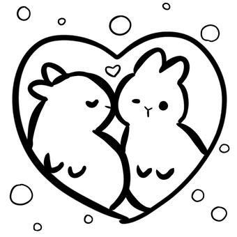 兔子情侶接吻著色