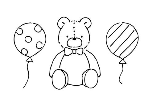 手寫的泰迪熊線描插圖