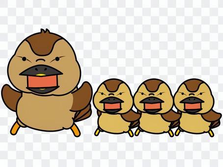 斑嘴鴨父母和孩子