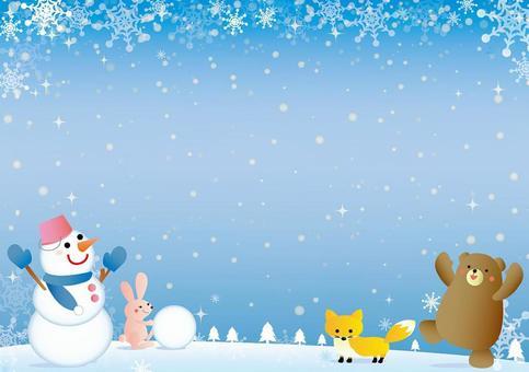 在雪中的動物幀框架