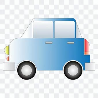 從側面看一輛藍色汽車的插圖