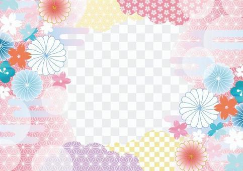 Japanese pattern frame _ pink