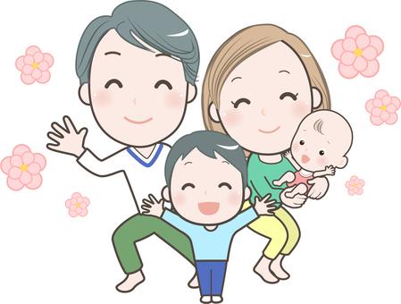 家庭 4 人手勢