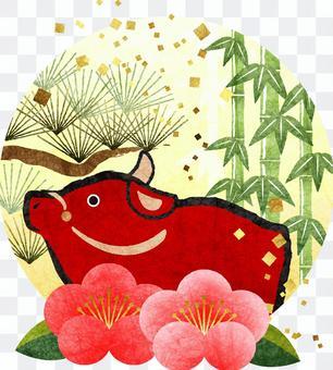 赤丑と松竹梅の年賀状素材透過アリ