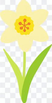 A girl with cute hand-drawn one daffodil 2