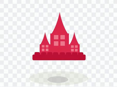 Floating castle silhouette