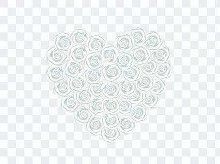 ハート型の花束_白いバラ