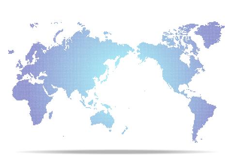 Blue digital network dot world map