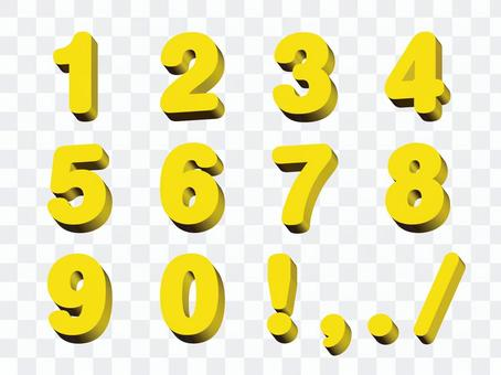 Three-dimensional numeral yellow 2