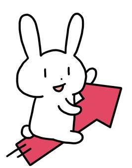 在向上箭頭的兔子