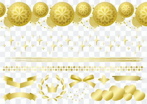 Gold glitter ribbon ornament