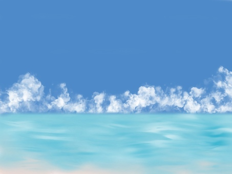 Blue sky, summer clouds and sea background material