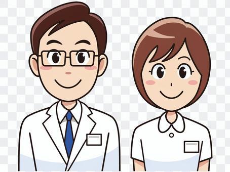 微笑的醫生和護士