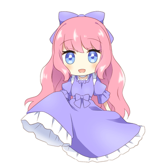 Pink-haired girl in a blue dress