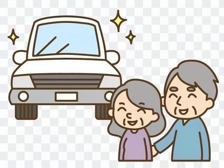 新車を購入する老夫婦