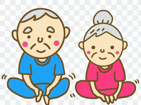 Elderly couple doing stretching person