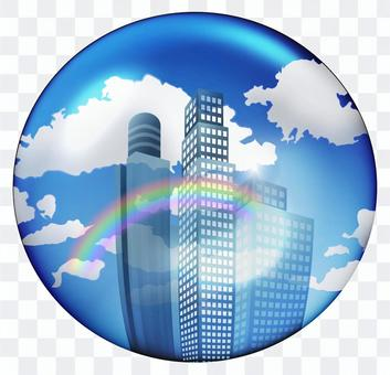 A rainbow in the blue sky and a circle icon of the office building