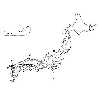 日本地图(黑白)