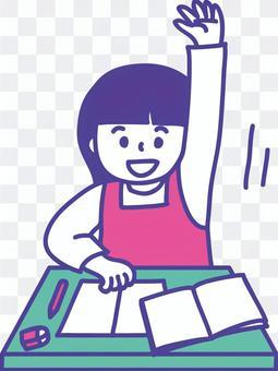 上課③時舉手示意的女孩的插圖