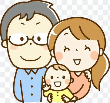 年轻的夫妇和婴儿