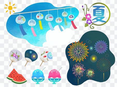手描き 日本の夏 素材 セット
