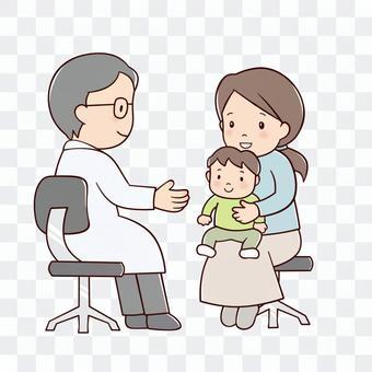 兒科醫生和母親和孩子
