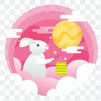 兔子用燈籠和滿月