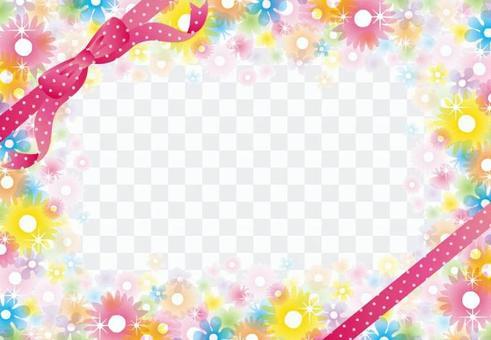 Glitter clear flower frame (pink ribbon)