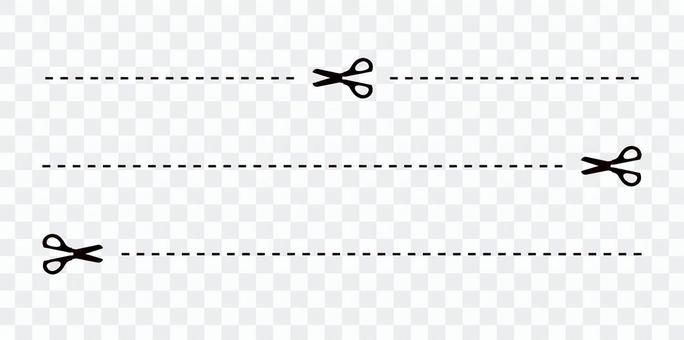 切り取り線 ハサミ 点線 イラスト