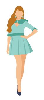 綠色迷你連衣裙的女人