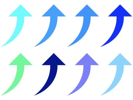 簡單經線上升箭頭圖標集:藍色